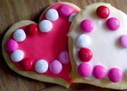 photo of frosted heart shaped cookies