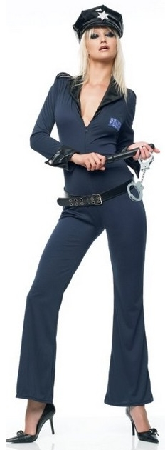 photo of a woman in a policewoman costume