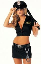 photo of a sexy woman in a police outfit