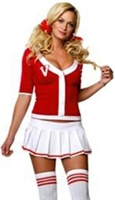 photo of a sexy woman wearing a schoolgirl costume