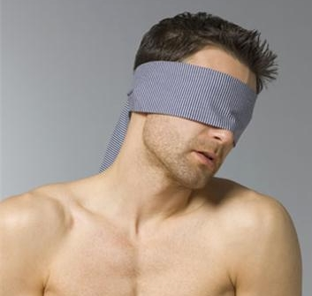 photo of a blindfolded man