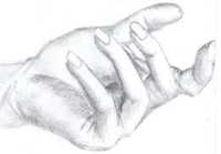 drawing of a hand making the come hither gesture