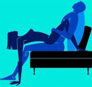 picture of a man and woman having sex on a sofa in cowgirl position