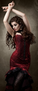 photo of a woman in a sexy red dress