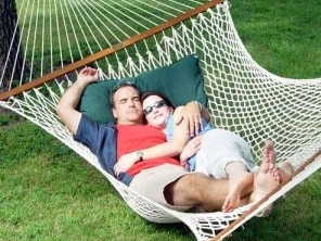 photo of a man and woman in a hammock