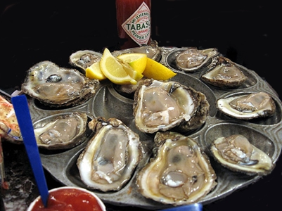 photo of a plate of oysters on the half shell