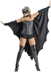 photo of a woman in a black leather corset, boots and mask