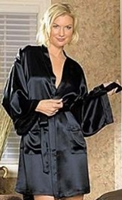 photo of a sexy woman in a black silk robe