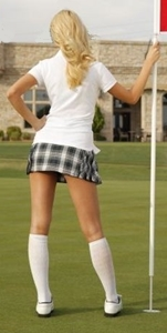 photo of the back of a woman in a sexy golf skirt.