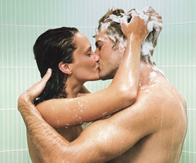 photo of a couple  enjoying sharing a shower