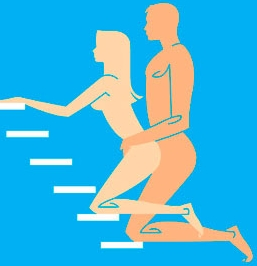 picture of a man and woman having sex on the stairs