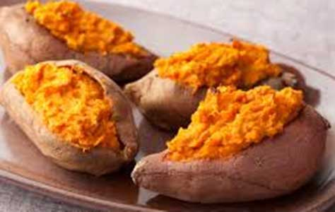 photo of a plate of baked sweet potatoes