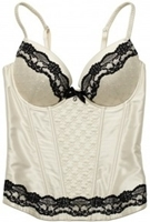 picture of a white bustier trimmed in black